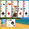 Caribbean Beach Solitaire - Remove all cards from the tableau, you can play any card one higher or one lower than the current card, suits don't matter. If you do not have a move click on the closed stock cards pile. The quicker you play the more points you score.