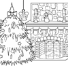 Christmas Coloring - Coloring a Christmas tree next to an fireplace. Drawing done by Vannetti Productions (http://vannetti.speedwork.nl).