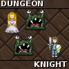 Dungeon Knight - Dungeon Knight is a puzzle game. You control the fearsome knight with the great -but as it seems, totally useless- sword in a quest to save the princess from the dungeon. As expected, the dungeon is inhabited by slimy monsters. And just because the sword cannot seem to do much more than keep the monsters a bit away, all you can do is to avoid them. Until they realise that you do not pose much of a threat of course.  Or do you? Of course you do! Even if your equipment might not be in a state to take advantage of your brawns, your brain is in perfect shape and you can outsmart these green drones at any time. Just guide them to their own death by bumping them to each other. Or just outrun them.