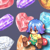 Inventory Crisis - This is Trickster Online MMOG fan-based mini arcade game. Help the bunny Xiu in her inventory crisis by stacking up gems of the same type. Click on two pieces to swap them. Swap must create a matching horizontally and vertically.