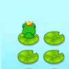 leaps - leap onto each leaf by jumping forwards or sideways only. leaves will sink after you touch them once.