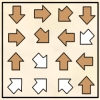 White And Tan Puzzles - Color some of the arrows below tan. Each white arrow should point at exactly 1 white arrow, and each tan arrow should point at 2 tan arrows.